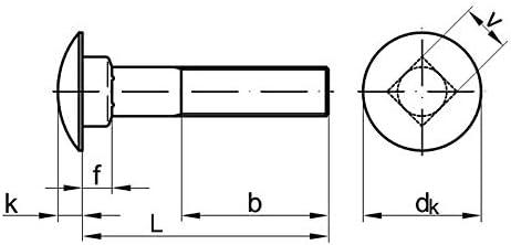 Stahl 8.8 verzinkt 50 Stk Flachrundschraube DIN 603 M8 x 50
