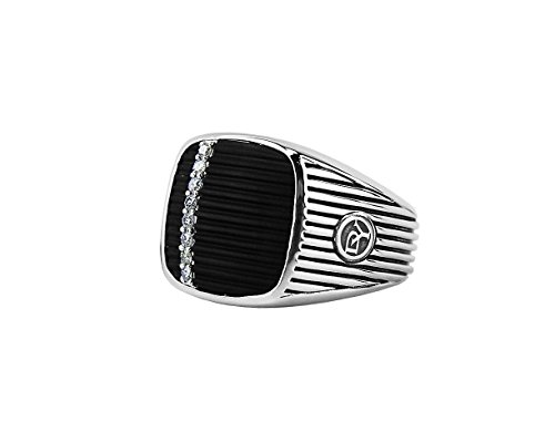 David Yurman ST. Silver Royal Cord Cushion Onyx Diamond Ring New Box Pouch #9R (10)