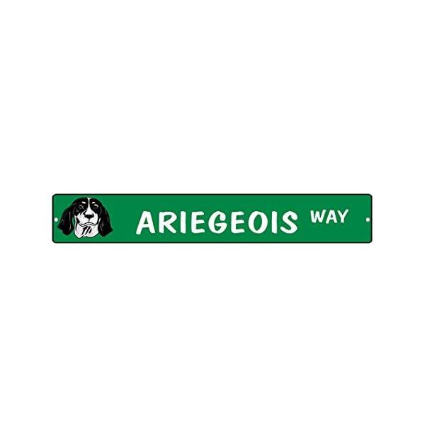 """Aluminum Metal Street Sign Ariegeois Dog Way Decorative Address Sign 18""""x4"""" 1"""