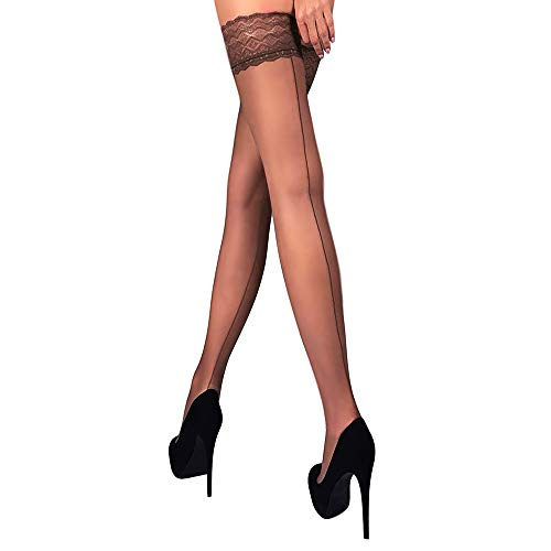 THIGH HIGH Sheer Lace Top Silicone Stockings Nylon Hosiery 20 Den Size S M L (L, Brown ()
