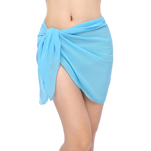 ChinFun Women's Sarong Wrap Beach Swimwear Chiffon Cover Up Short Pareo Bikini Swimsuit Wrap Skirt Bathing Suit Shawl Semi-Sheer Translucent Solid Blue