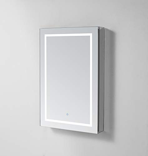 AQUADOM 24in x 30in x 5in Right Hinge Royale Plus LED Lighted Mirror Glass Medicine Cabinet for Bathroom, Defogger, Dimmer, Outlet (Hinge Surface Cabinet)