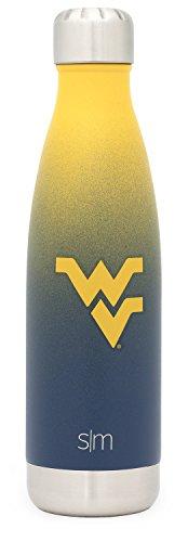 West Virginia Mountaineers Stainless Steel - Simple Modern West Virginia University 17oz Wave Water Bottle - Vacuum Insulated WVU Mountaineers 18/8 Stainless Steel Powder Coated Travel Mug