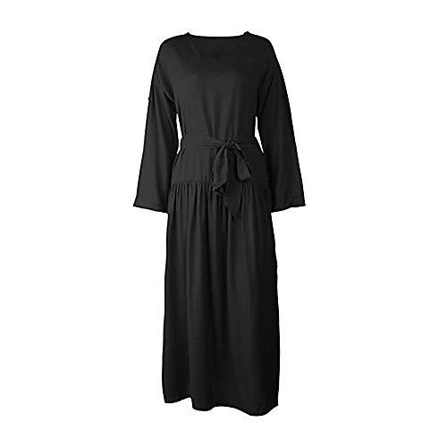 TTSKIRT Mujer Básico Vaina Vestido Un Color Maxi,Black,M