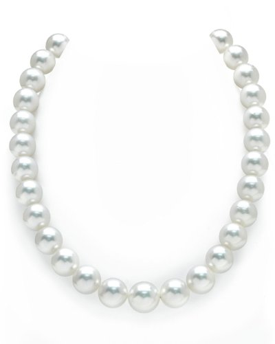 (THE PEARL SOURCE 14K Gold 12-14mm Round Genuine White South Sea Cultured Pearl Necklace in 18