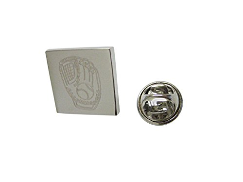 - Silver Toned Etched Baseball Glove Lapel Pin