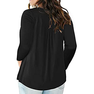 VISLILY Women's Plus Size Henley Shirt Long Sleeve Buttons Up Pleated Tunic Tops at Women's Clothing store