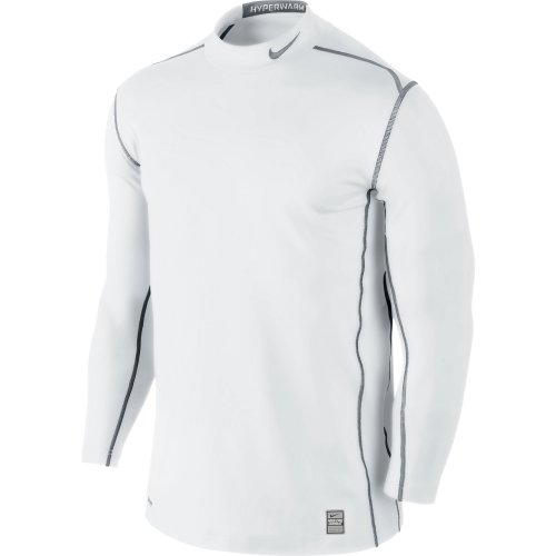 New Nike Men's Hyperwarm Dri-Fit Fitted Mock 2.0 White/Cool Grey/Cool Grey Small