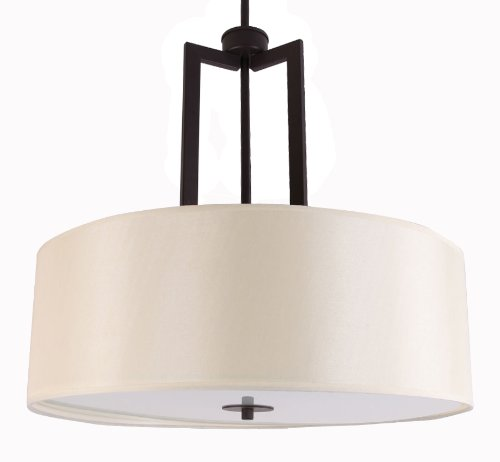 Whitfield CH-SF3026-22EBZ Falcon 22-Inch Three-Light Chandelier Semi Flush, Ebony Bronze with Crème Silk Shade