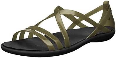 Crocs Women's Isabella Strappy Flat Sandal, Black, 4 M US