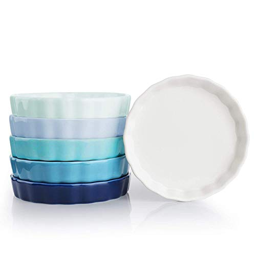 Sweese 5110 Porcelain Ramekins Round Shape - 5 Ounce for Creme Brulee - Set of 6, Cold Assorted Colors