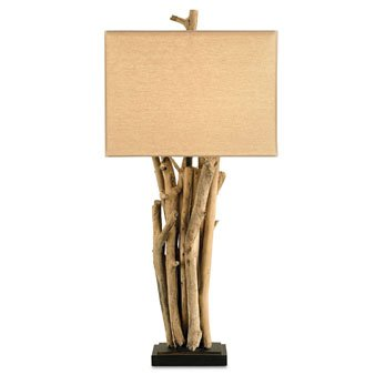Currey Company 6344 Table Lamps with Beige Linen Shades, Natural Wood and Old Iron ()