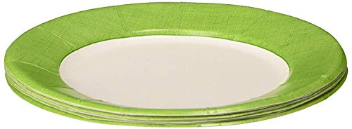 Entertaining with Caspari Linen Salad/Dessert Plates, Moss Green, 8-Pack