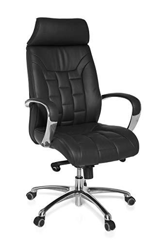 KS-Furniture Turin X-XL - Silla de Oficina (Piel, soporta hasta 120 kg), Color Negro