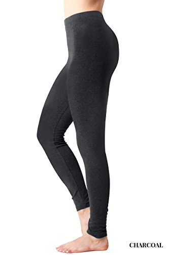 JNTOP Premium Cotton Full Length Knit Leggings with Elasticized Waist