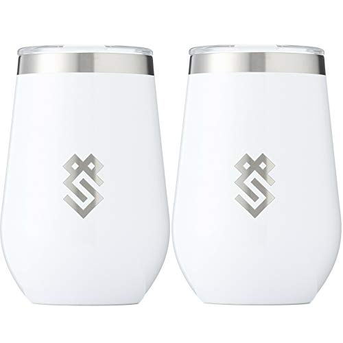 Summit Outdoor Wine Glasses, Vacuum Insulated Wine Tumbler With Lid, Stemless Metal Cup Design, Stainless Steel, Unbreakable, Shatterproof, Portable, Set of 2, Home, Travel or Camping. NEW SLIDING LID ()