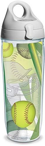 Tervis Softball Wrap and Water Bottle with Grey Lid, 24-Ounce, Beverage - 1167420
