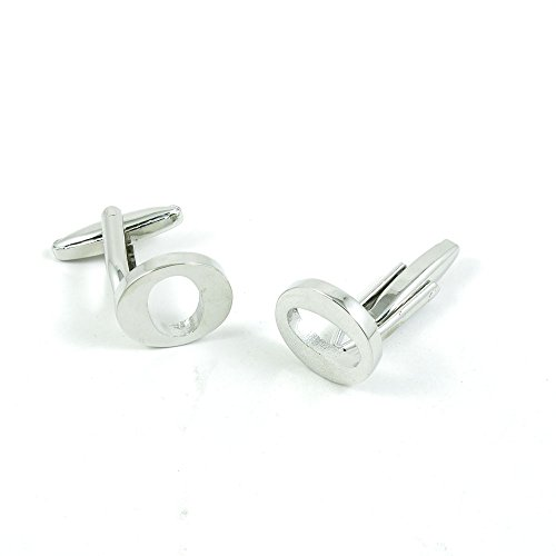 50 Pairs Cufflinks Cuff Links Fashion Mens Boys Jewelry Wedding Party Favors Gift MMF079 Shinning Silver Letter O by Fulllove Jewelry