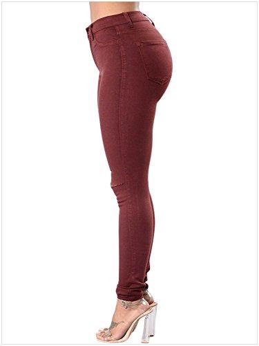 Pantaloni Caviglia Da Donna Vita Con Alla Alta A Rosso Cinturino Denim In qrBq7v