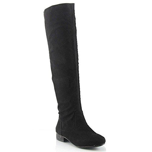 Essex Glam Dames Over Overknee Laarzen Elastisch Terug Lage Hak Ronde Neus Rits Synthetische Laarzen Zwart Faux Suede