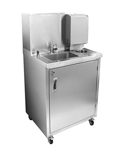 ACE Stainless Steel Self-Contained Mobile Hand Sink Station with Soap & Paper Towel Dispensers, Hot & Cold Water, Trash Bin, 30-1/4