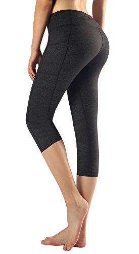Flatik Women's Yoga Capri Legging Big Side Pocket Non See-Through Fabric L