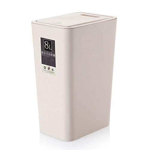 (Lightweight Rectangular Waste Paper Bin Member, Sturdy Trash Can Waste Basket Garbage Container for Home Office-Beige)