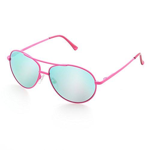 Aviator Sunglasses for Kids Girls Children, Mirrored Grey Lens, Red Purple Metal Frame, UV ()