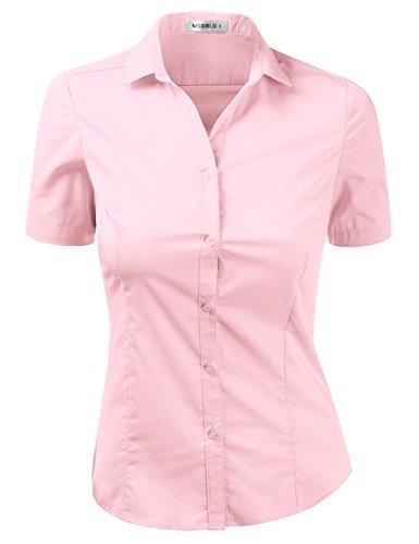 920697ed Doublju Womens Slim Fit Short Sleeve Cotton Spandex Button Down Shirt with  Plus Size