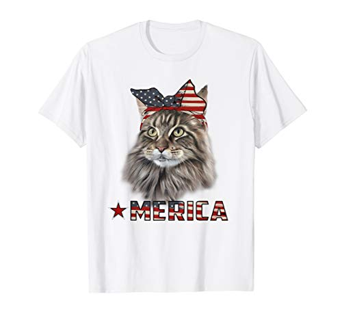 American 4th Of July T Shirt Maine Coon Cat Lover -