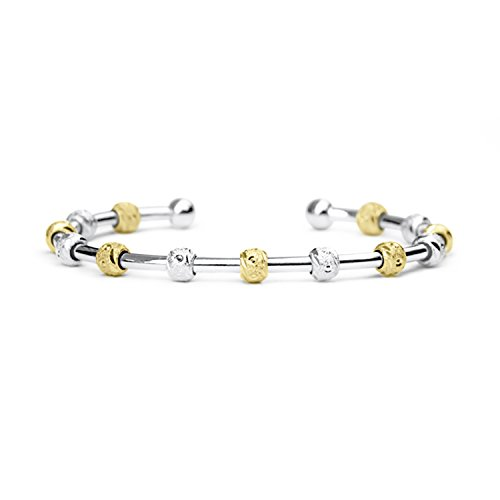(Chelsea Charles Count Me Healthy Journal Bracelet - Two Tone Silver and Gold with Silver Cuff)