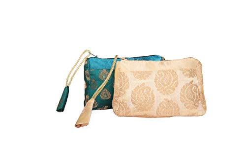 Evening Brocade Bag - Handmade Antique Silk Clutch Wristlet Indian Made Purse Organza Bag with Ethnic design Wedding Gift Pouch (Set of two)