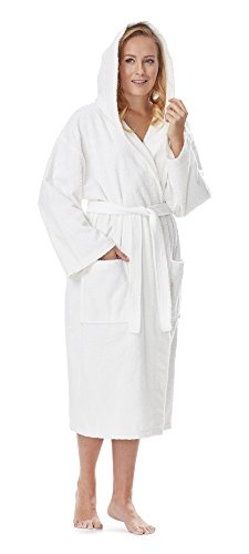 Arus Women's Classic Hooded Bathrobe Turkish Cotton Terry Cloth Robe (S/M,White) -