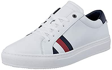 TOMMY HILFIGER Men's Leather Flag Trainers, White, 44 EU