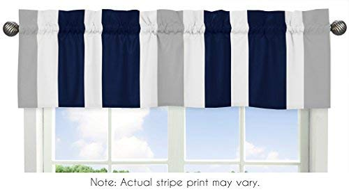 Navy Blue, Gray and White Window Treatment Valance for Stripes Bedding Collection
