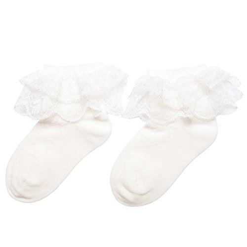 5 Pack Little Kids Girls Lace Socks Cotton White