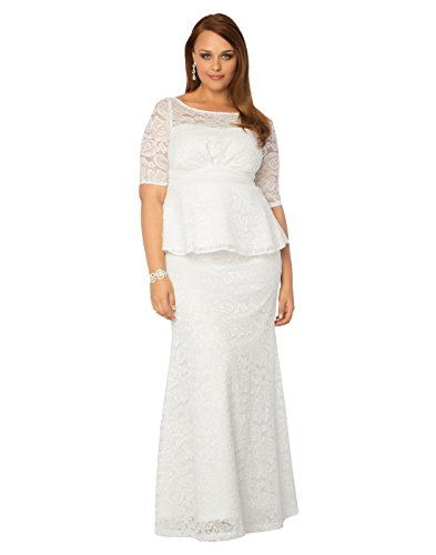 Kiyonna Women's Plus Size Poised Peplum Wedding Gown 3X Ivory