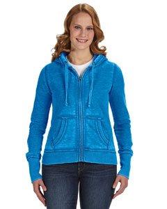 J. America Women's Ladies Zen Full Zip Hooded Sweatshirt, Oceanberry, X-Small
