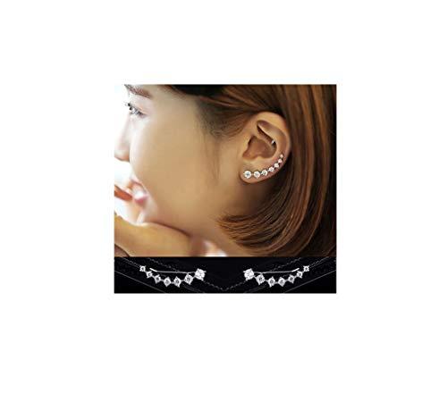 Amaer 7 Crystals Ear Cuffs Hoop Climber S925 Sterling Silver Earrings Hypoallergenic Earring