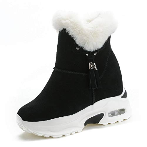 CYBLING Women's High Top Faux Shearling Trim Ankle Boots Fashion Air Cushion Outdoor Sneaker Shoes Black