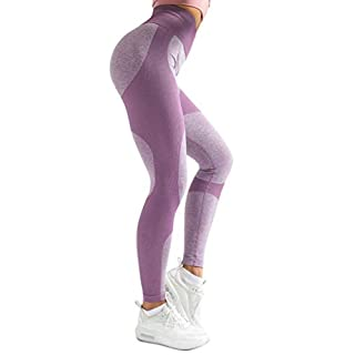 Women's High Waist Yoga Leggings Workout Seamless Pants Butt Lift Tights Purple