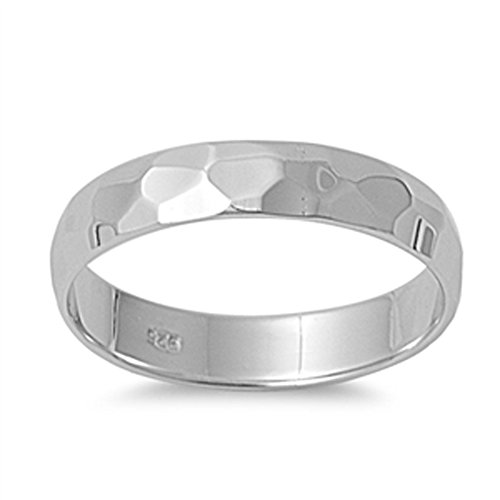 Cute Hammered Wedding Ring New .925 Sterling Silver Band Size 10 4mm Hammered Band Ring