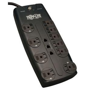 TRIPPLITE TLP1008TEL TLP1008TEL Surge Suppressor, 10 Outlets, 8 ft Cord, 2395 Joules, Black