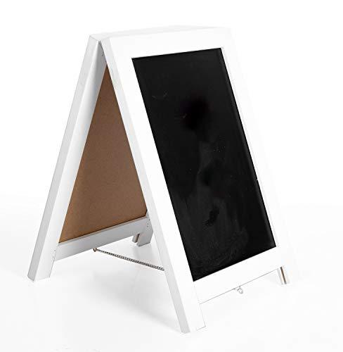 Chalkboard Table White - Ilyapa Rustic Wooden Magnetic Tabletop Chalkboard Sign - 10x14 Wood A-Frame Standing Sandwich Board Menu Display - White