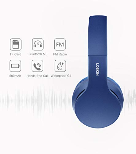 Wireless Bluetooth Headphones, Lobkin Over-Ear Stereo Foldable Headphones,Hi-Fi Stereo Headset With Microphone, Supports Hands-Free Calling and Wired Mode for Cell Phone TV PC Laptop (Blue)