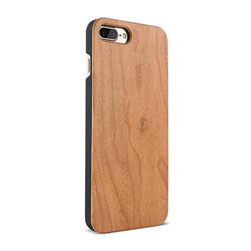 Maxlight Real Wood Phone Case for iPhone X Xs Max 7 8 Plus XR Retro Natural Bamboo Case (Cherry Wood, for iPhone 7plus 8plus)