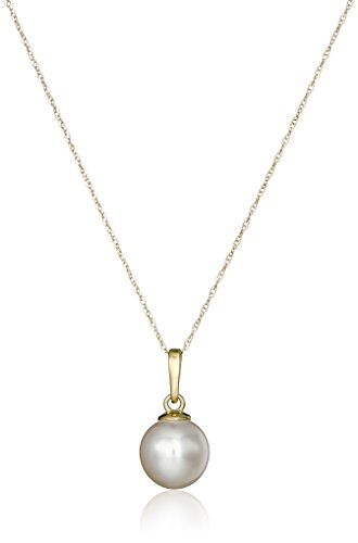 14k Yellow Gold White AA Grade 8.5-9mm Akoya Cultured Pearl Pendant, 18