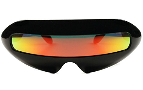 (Futuristic Cyclops Mirror Single Lens Oval Sunglasses (Red Sunset)