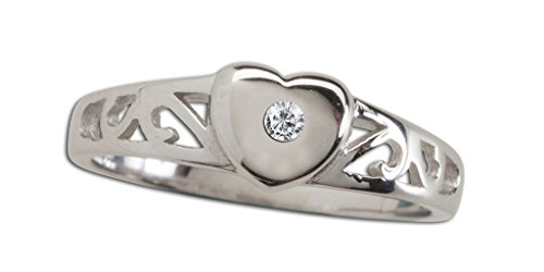 Baby Diamond Heart (Sterling Silver Baby Heart Ring with a Dainty Diamond Accent)