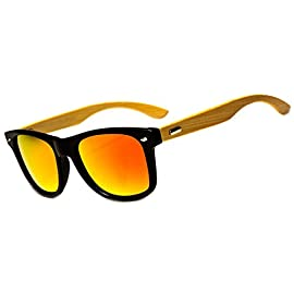 Men Women Retro POLARIZED Bamboo Wood Arms Classic Squares Sunglasses 5 These Polarized Wayfarer sunglasses feature black frames and yellow Bamboo Arms. These wayfarers are designed for men and women of style, but who also have their comfort in mind. These sunglasses are lightweight, durable and comfortable to wear. The UV400 and polarized lenses provide the eyes with protection from the sun and glare for maximum comfort while you are outdoors and on the go. The lenses are also topped with a reflective coat that provides additional comfort and protection.